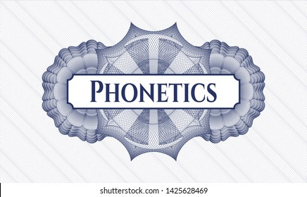 Blue abstract linear rosette with text Phonetics inside