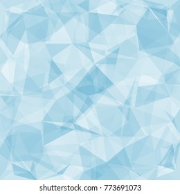 Blue abstract low-poly. Vector 3D design template. Geometric background with ice texture.