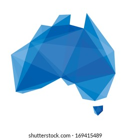 blue abstract map of Australia in origami style