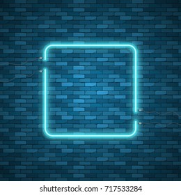 Blue abstract neon square shape. Glowing vintage or futuristic frame. Simple electric symbol for advertisement or other design project. Vector illustration.
