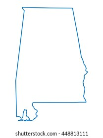blue abstract outline of Alabama map
