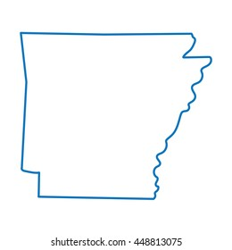 blue abstract outline of Arkansas map