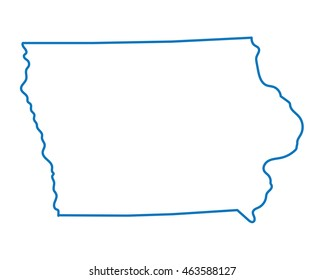 blue abstract outline of Iowa map