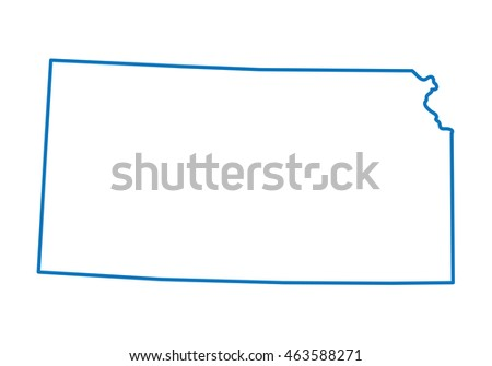 Blue Abstract Outline Kansas Map Stock Vector Royalty Free