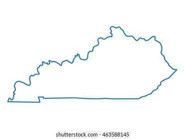 blue abstract outline of Kentucky map