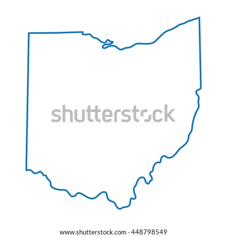 Blue Abstract Outline Ohio Map Stock Vector Royalty Free 448798549