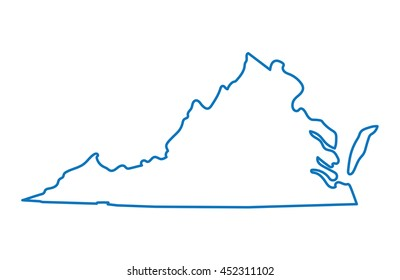blue abstract outline of Virginia map