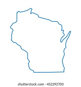 blue abstract outline of Wisconsin map