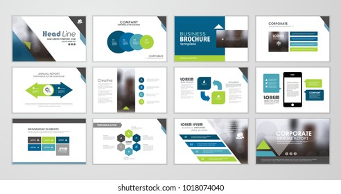 Blue abstract presentation slide templates. Set of Infographic elements template  for web, print, annual report brochure, business flyer leaflet marketing and advertising template. Vector Illustration