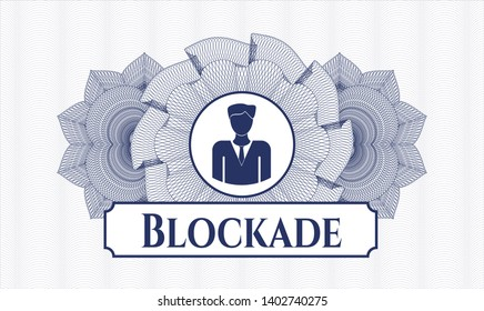 Blue abstract rosette with businessman icon and Blockade text inside
