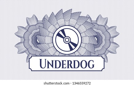 Blue abstract rosette with CD or DVD disc icon and Underdog text inside