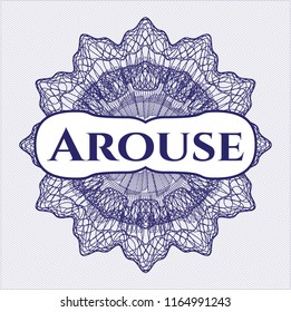 Blue abstract rosette with text Arouse inside