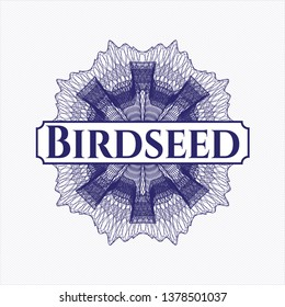 Blue abstract rosette with text Birdseed inside