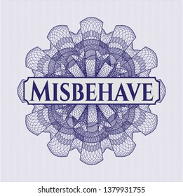 Blue abstract rosette with text Misbehave inside