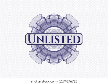 Blue abstract rosette with text Unlisted inside