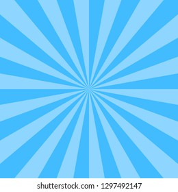 Blue abstract sunburst or sunbeams empty background. Blank retro vintage backdrop designed in square size. The design graphic element is saved as a vector illustration in the EPS file format.