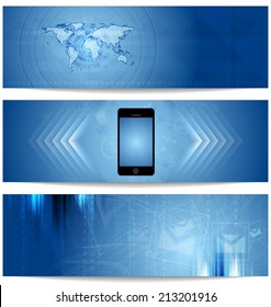 Blue abstract tech banners for web design. Vector template