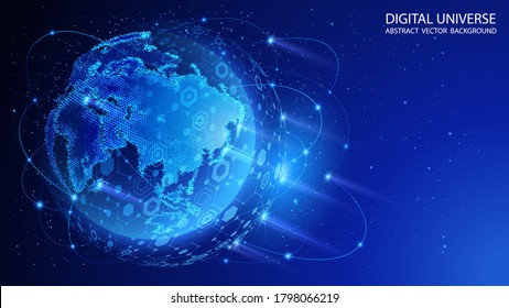 Blue abstract technology background. Satellites and rockets in orbit of planet Earth. Global World Wide Web internet. Technologies and communications. Map of the planet. World map. Vector.