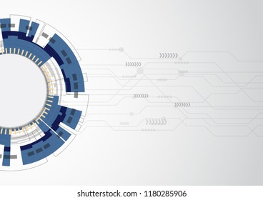 Blue abstract technology background with various elements, stock vector