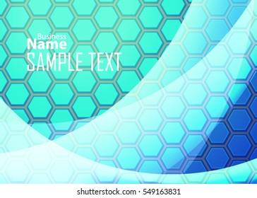 Blue abstract template for card or banner. Metal Background with waves and reflections. Business background, Illustration of abstract background with a metallic element