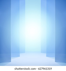 Blue abstract vector background. Vertical opening jalousie, elegant backdrop, light effect.
