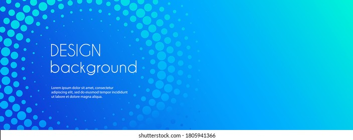 Blue abstract vector business long banner. Business minimal background with halftone circle frame and copy space for text. Social media header