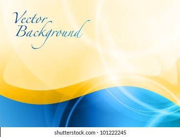 blue abstract wave under the gold background
