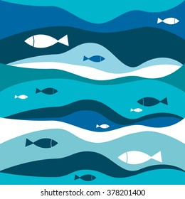 Blue abstract waves with fishes pattern. Vector sea illustration background.