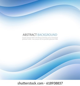 Blue abstract waves on a white background.Vector abstract background.