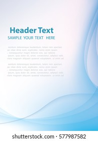 Blue abstraction smooth lines vector background.