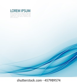 Blue abstraction smooth twist light lines vector background.