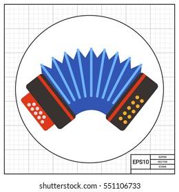 Blue accordion vector icon
