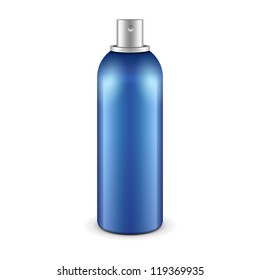 Blue Aerosol Spray Metal 3D Bottle Can: Paint, Graffiti, Deodorant. Ready For Your Design. Vector EPS10
