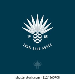 Blue agave icon. Tequila or mescal logo. Emblem for the label. Engraving style Agave icon on a dark background.