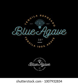 Blue agave tequila logo. Emblem for the label. Beautiful letters and an agave icon on a dark background.