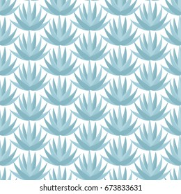 Blue agave vector seamless pattern, Flat design of superfood or food and tequila making ingredient wallpaper on the white background, cute vector illustration with reflections