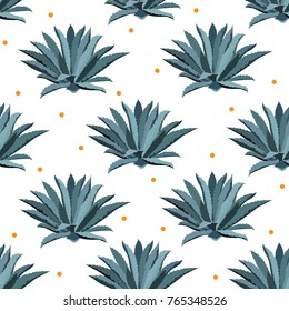 Blue agave vector seamless pattern. Background for tequila packs, superfood with agave syrop, textile, and other. Succulent, cactus wallpapers.