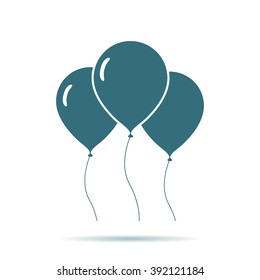 Blue Air Balloon icon isolated on background. Modern simple flat ballon sign. Celebration, internet concept. Trendy vector symbol for website design, web button, mobile app. Logo illustration.