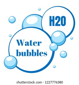 Blue air bubbles from water or chewing gum, foam. Blank speech. Templates for dialogs and messages, prices and discounts. Isolated white background. EPS10 vector illustration.