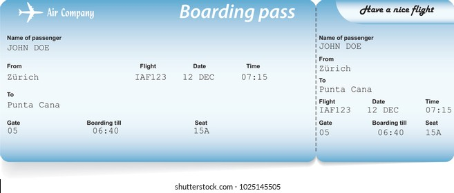 Blue airline boarding pass tickets for traveling by plane. Vector illustration. Travel, journey or business trip by aircraft concept