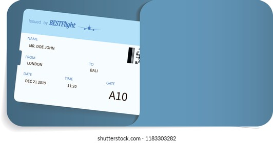 Blue airline ticket or boarding pass inside of special service envelope. Travel or journey concept.