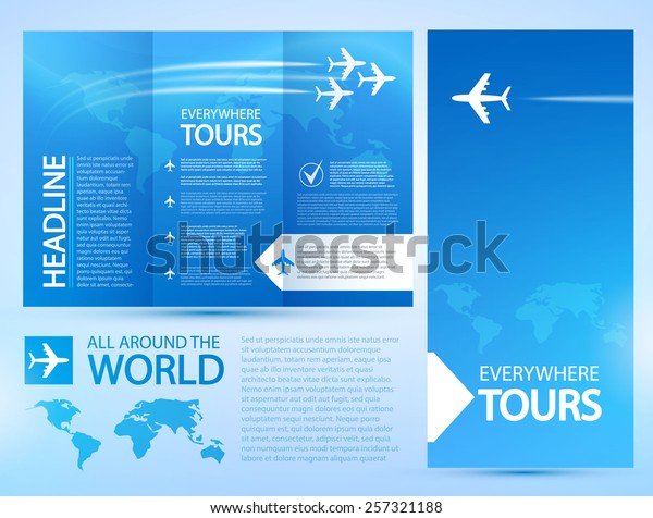 Blue Airplane Travel Brochure Template Vector Stock Vector