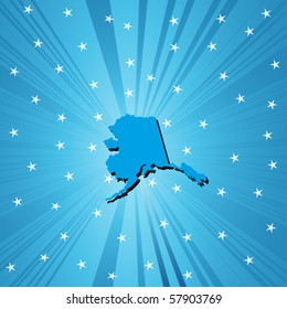 Blue Alaska map, abstract background for your design