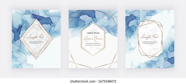 Blue alcohol ink cards with marble and gold polygonal frames. Abstract hand painted background. Fluid art painting design. Trendy template for banner, flyer, wedding invitation