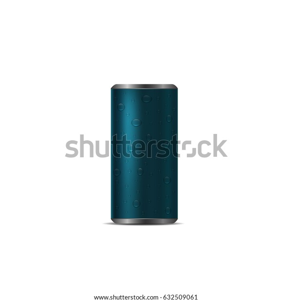 Blue Aluminum drink can with drops over white background