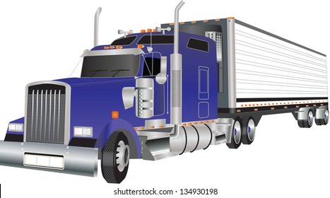 A Blue American Truck hauling a Refrigerated Trailer
