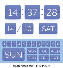 Blue analog flip calendar with flat timer and scoreboard numbers with weeks and monthes. Vector EPS10 illustration