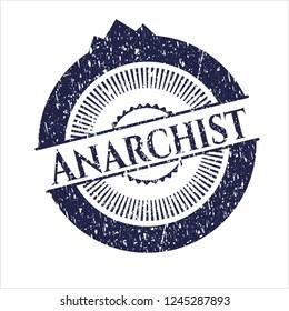 Blue Anarchist grunge style stamp