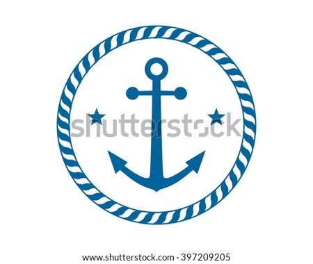 Blue Anchor Icon Hook Navy Marine Stock Vector Royalty Free