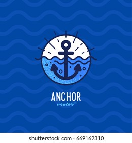 Blue anchor in the sea illustration for t-shirt print or invitation card. Vector illustration design